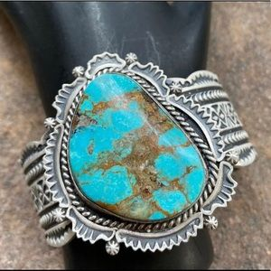 NativeAmericanS.S.Turquoise CuffBracelet. Harold J